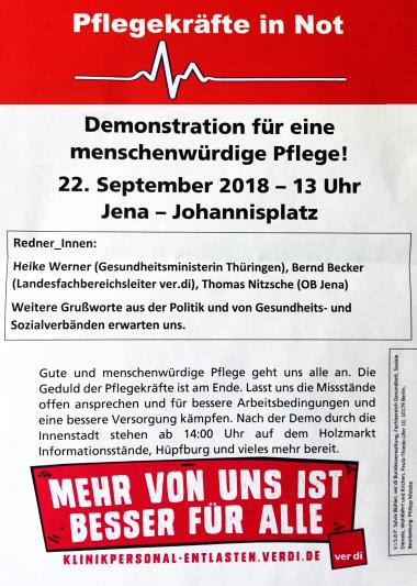 Ankündigung der Demo PFLEGEKRÄFTE IN NOT