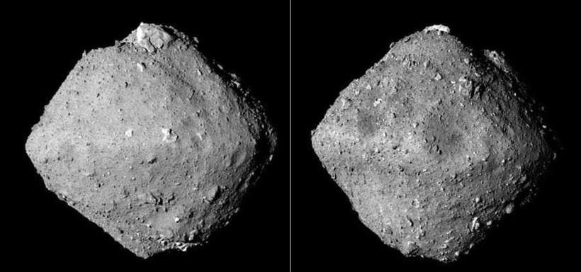Der Asteroid Ryugu, aufgenommen auf zwei Richtungen von Huyabasa 2. - Foto © JAXA DLR