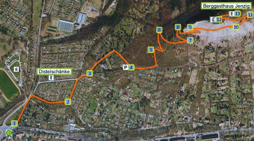 Die Stationen des Jenaer Saurierpfades Trixi Trias Grafik im Luftbild © KSJ