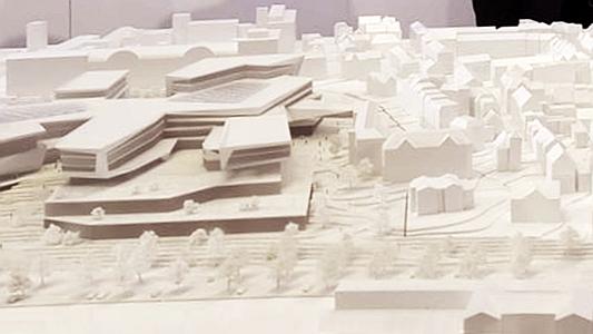 Modell des neuen Zeiss Hightechkomplexes in Jena - Draufsicht - Bildrechte Stadt Jena