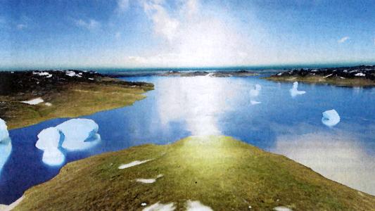 So könnte der Blick vom Jenzig ausgesehen haben, als einst Eiszeit-Landschaften vorherrschten. Wo sich heute unsere Stadt befindet, gab es einen See - VR-Grafik © rooom AG