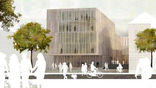 So sieht der Bibliotheksnaubeu am Engelplatz aus. - Grafik © Planungsbüro Rohling