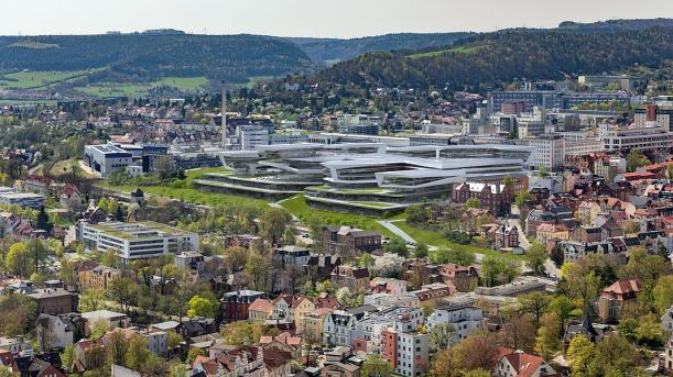Virtueles Modell des neuen Zeiss Hightechkomplexes in Jena - Bildrechte ZEISS AG
