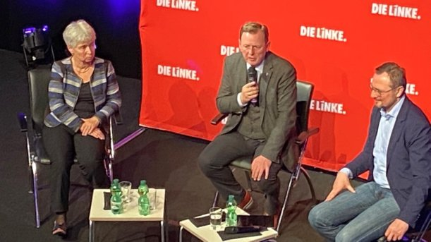 Bodo Ramelow spricht im Jenaer Volksbad. - Bildrechte MediaPool Jena