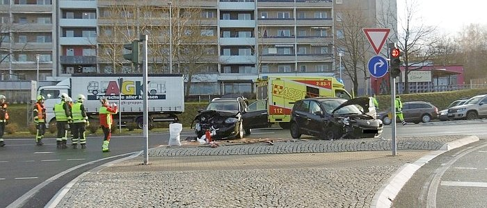 Das Unfallszenario in der Stadtrodaer Straße - Bildquelle LPI Jena