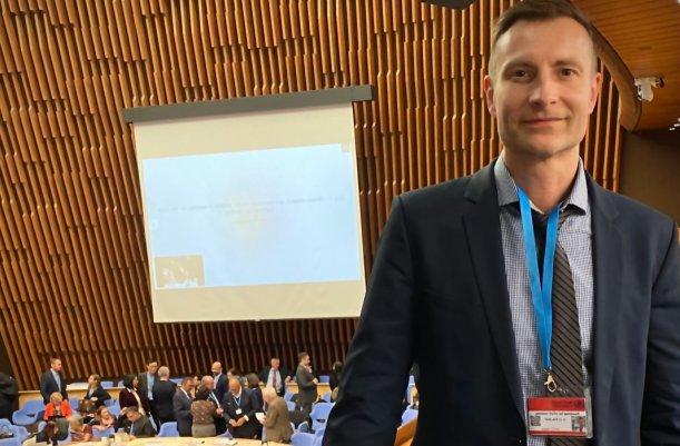 Prof. Mathias Pletz bei der Tagung der WHO zu Coronavirus in Genf. - Foto privat