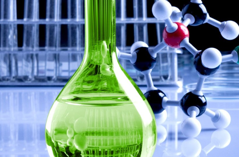 Science background with molecules and green bottle. - Image © by FikMik under FotoliaLicense#168801690