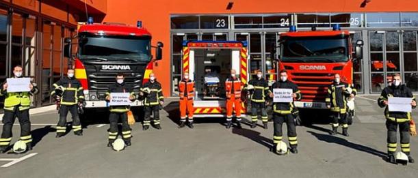 Jenas Feuerwehrleute sind auch während der Coronakrise für alle Menschen da. - Foto Berufsfeuerwehr Jena