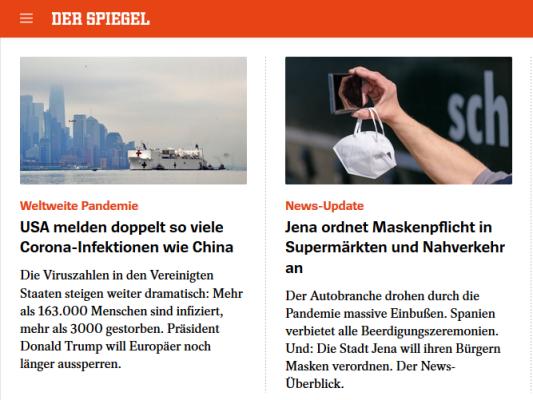SPON-Meldung über die Masken-Tragepflicht in Jena