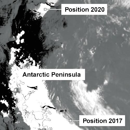 So hat Eisberg A68 seine Position zwischen 2017 und 2020 verändert. - Images A. Luckman NASA Worldview