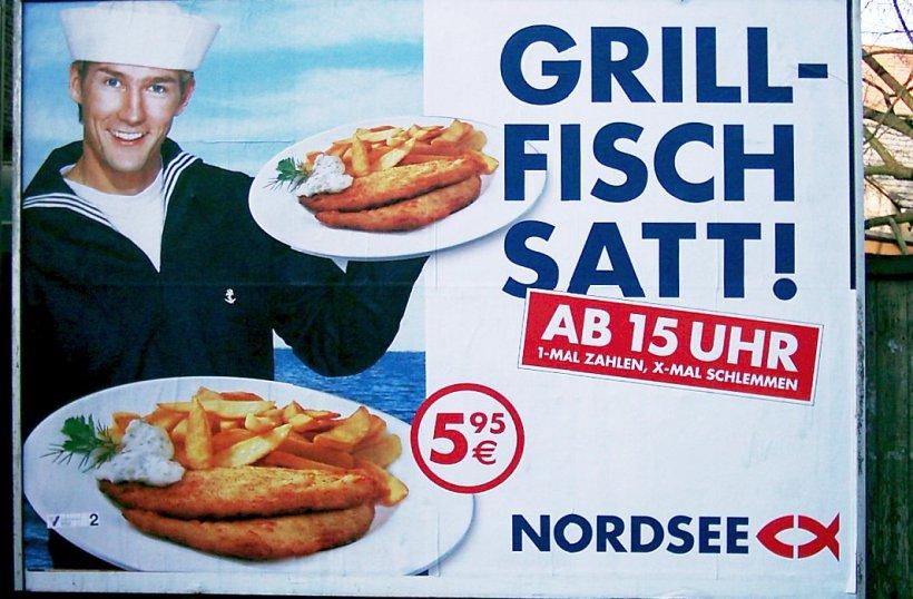 17 TAGE EUROPS - Plakat der Nordsee-Aktion Grillfisch satt 2002