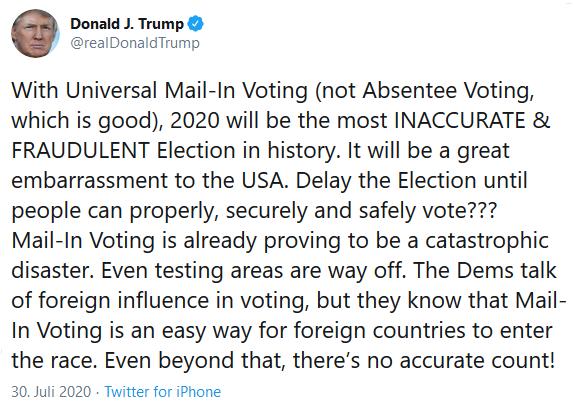 Donald J. Trump Tweet 30.07.2020