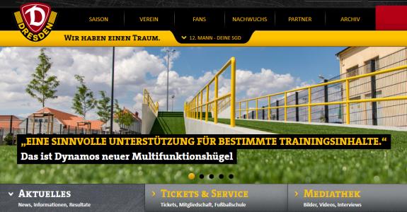 Webseite von Dynamo Dresden - Symbolfoto