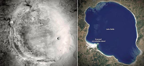 Der Jezero-Krater auf dem Mars und der Salda-See in der Türkei - Bildrechte NASA