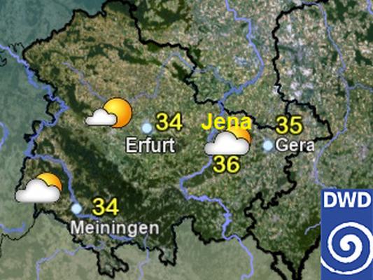 Thüringen-Karte des Deutschen Wetterdienstes vom 08.08.2020 - Quelle DWD